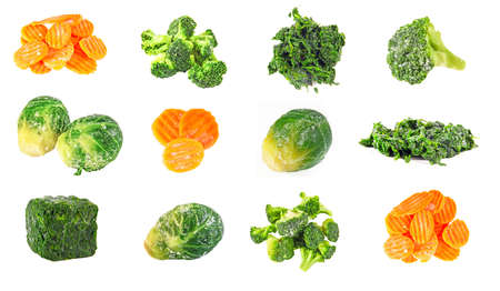 Frozen carrot, spinach, brocolli and brussels cabbage, isolation on white