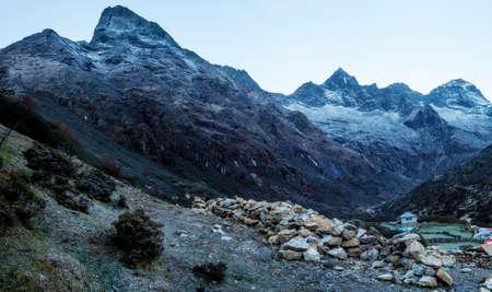 View of the mountains in Everest area before the sunrise time Stock Photo