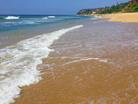 Beautiful Arabian sea on the Kerala seaside, Varkala beach, India