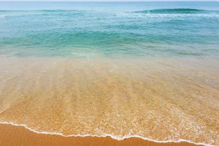 Beautiful light color Arabian sea water with waves, taken in Varkala, Kerala, India