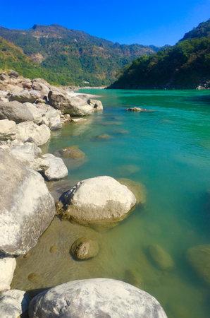 Beautiful view of the clear Ganga river in Rishikesh, India