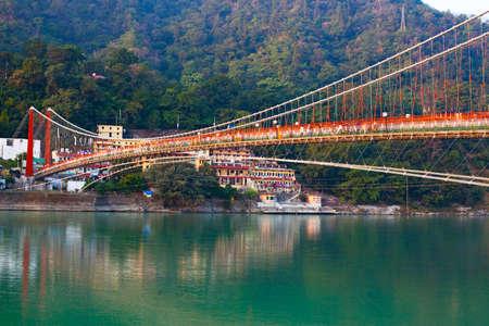 Beautiful Ram Jhula Bridge and Ganga river taken in Rishikesh, India