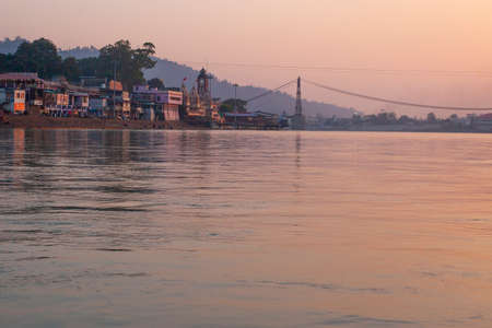 Rishikesh city and Ganga river sunset view in pastel colors