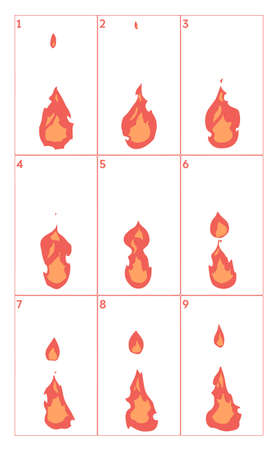 Fire animation. Vector sheet sequence. Flame video frames for game design