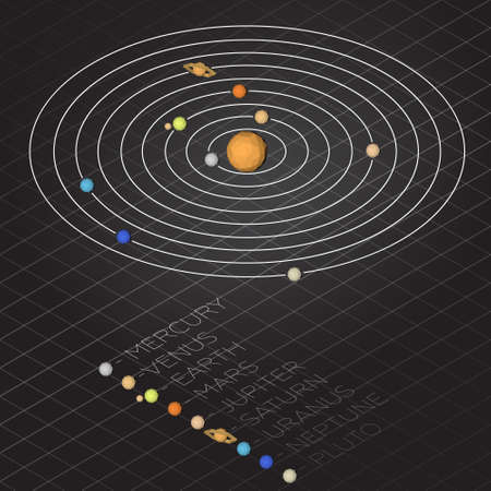 Vector illustration solar system. Isometric camera, low poly planet, sun and moon. Solar system and grid background