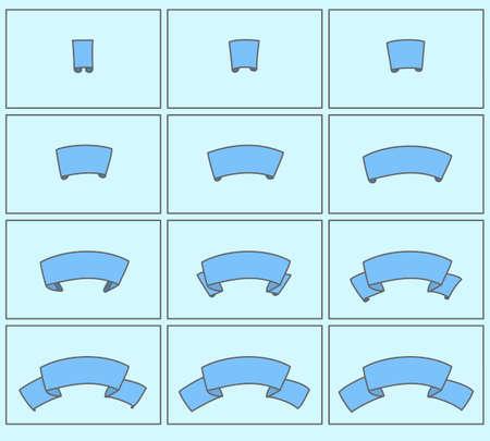 sprite: Ribbon cartoon vector illustration. Frame animation banner sprite sheet sequence Illustration