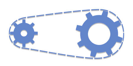 Chain with cogwheels. Vector illustration bicycle pull