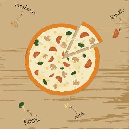 Pizza vegetarian on table. Ingredients tomato, mushroom, broccoli, corn Ilustração