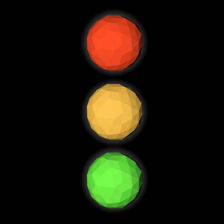 Traffic light, vector illustration icon low poly triangulate