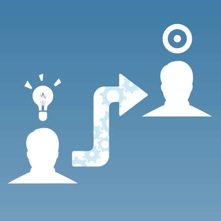 Man icons share idea or thoughts on target arrow infographic Ilustração