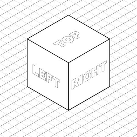 orthographic symbol: Cube sides isometric grid vector illustration grayscale Illustration