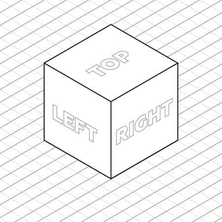 Cube sides isometric grid vector illustration grayscale Ilustração