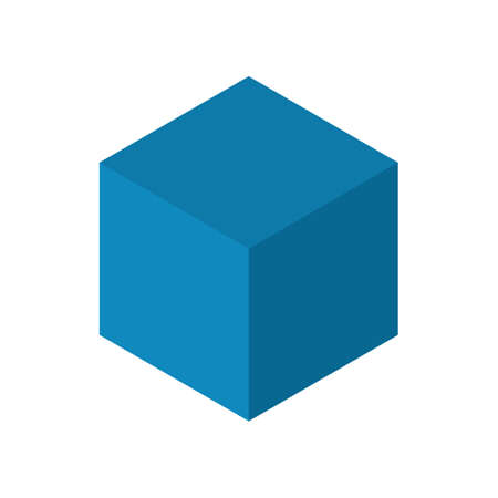 Cube sides isometric clean vector illustration blue