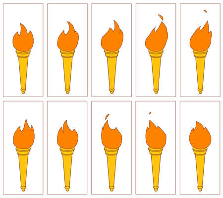 Fire animation vector illustration. flame on torch. Serquence sprite sheet.