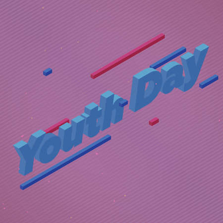 Youth day isometric text vector illustration and perspective line Ilustração