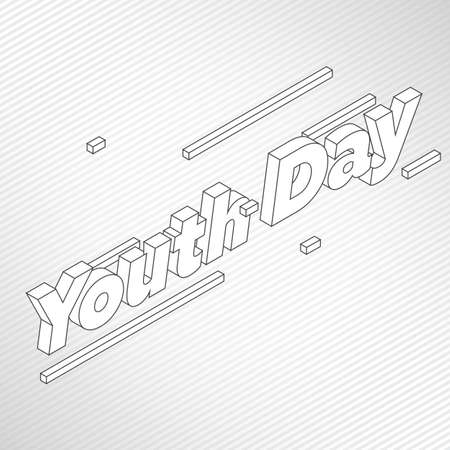 Youth day isometric text vector illustration and perspective line Çizim