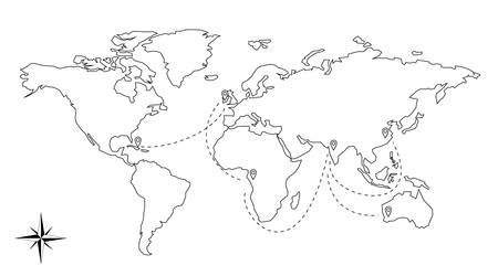 continents: World map vector illustration continents and compas