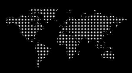 Worl map dotes. Template with points. Isolated black background. Worldmap Vector for website, design, cover, infographics. Flat Earth Graph illustration