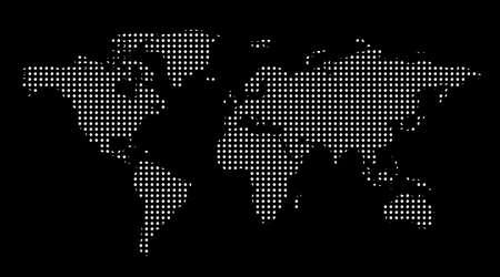 Worl mapie dotes. Szablon z punktami. Pojedyncze czarne tło. Mapa świata wektora dla witryny, projektowanie, okładki, infografiki. Flat Earth Graph ilustracji