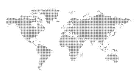 Worl map dotes. Template with points. Isolated white background. Worldmap Vector for website, design, cover, infographics. Flat Earth Graph illustration