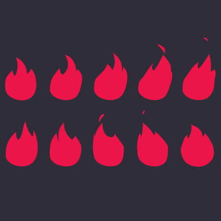 Vector Fire Animation Sequence. Sprite sheet flame