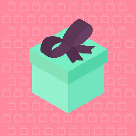 Vector Isometric Present Gift and Bow on pink background Çizim