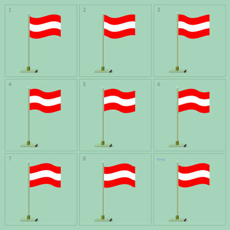 animator: Waving flag on pole animation sequence sprite sheet