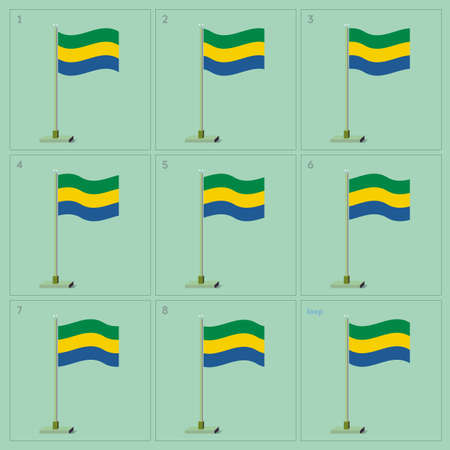 Waving flag on pole animation sequence sprite sheet Banco de Imagens - 62927195
