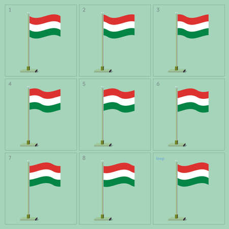 Waving flag on pole animation sequence sprite sheet Banco de Imagens - 62927198