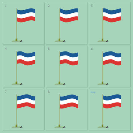 Waving flag on pole animation sequence sprite sheet