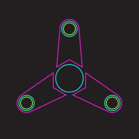 Fidget spinner stroke line neon Ilustração