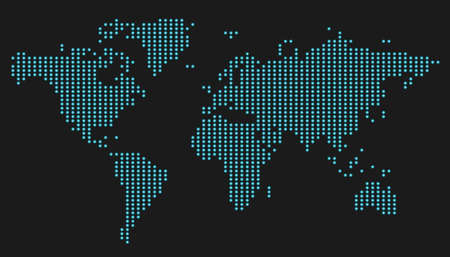 World map dotes glowing neon on black background Çizim