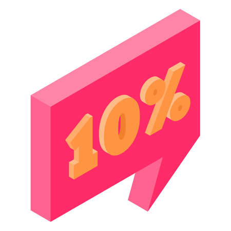 Bubble discount offer price label signboard isometric
