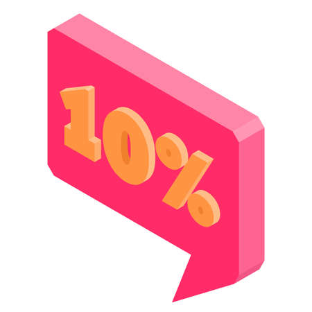 Bubble discount offer price label signboard isometric, vector illustration. Çizim