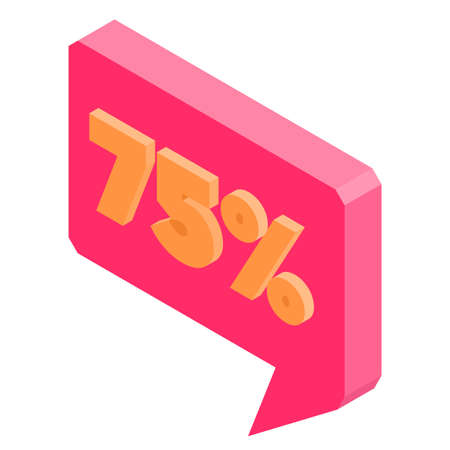 Bubble discount offer price label signboard isometric. Vector illustration