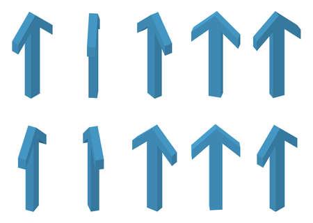 Arrow isometric rotate set. Vector illustration perspective Illustration