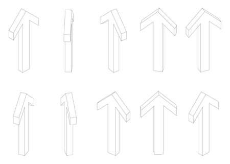 Arrow isometric rotate set. Vector illustration perspective Ilustração