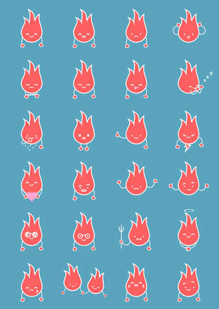 Flame Fire Twinkle smile. Vector clean isolate illustration. Set of Emoticons flat emoji