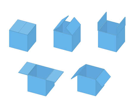Box open isometric sequence animation. Ilustração