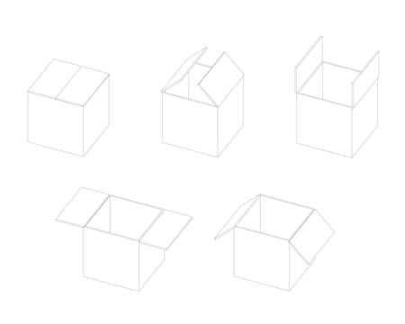 Box open isometric sequence animation sprite. Stroke illustration