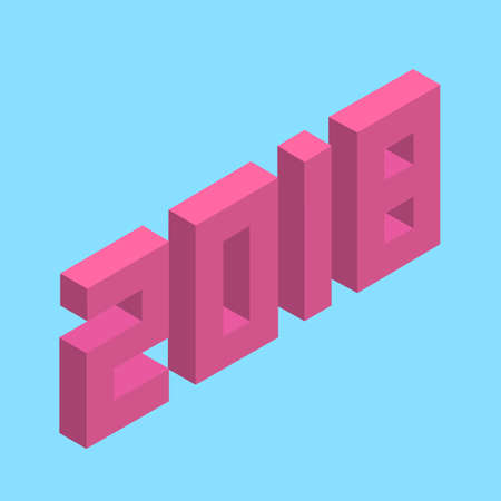 2018 happy new year, 3d isometric voxel Stok Fotoğraf