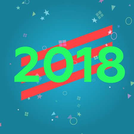 2018 happy new year, vector illustration Banco de Imagens