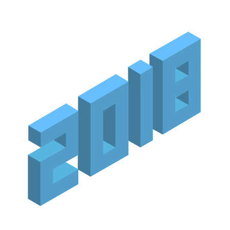 2018 happy new year, 3d isometric voxel clean