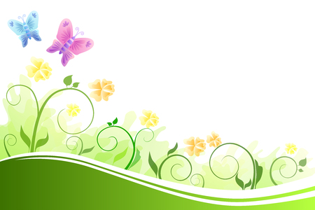 green butterfly: Background abstract flowers green and yellow flying blue and pink butterfly vector Illustration