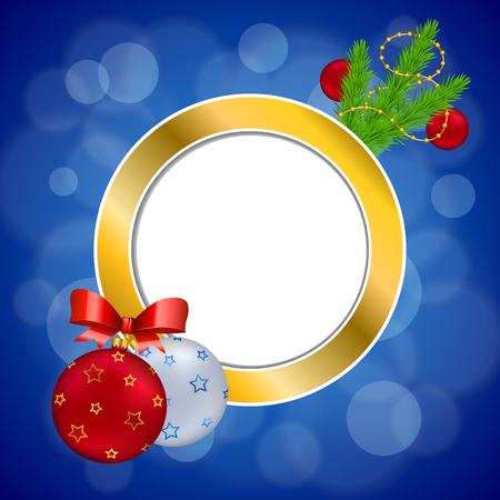 gold circle: Background abstract blue new year Christmas ball red yellow gold circle frame illustration vector