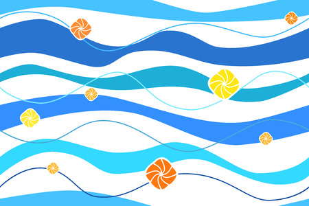 blue waves: Abstract background blue waves orange and yellow circles seamless vector