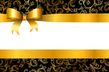 gold ornaments: Background pattern flowers gold black with bow vector