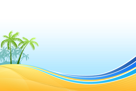 tropical beach panoramic: Abstract background sea coast palms blue yellow vector Illustration