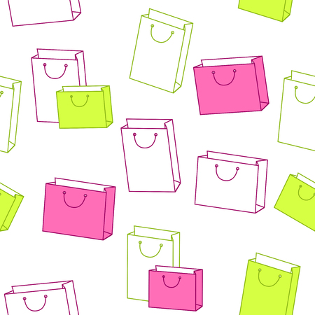 empty pocket: Abstract background pattern paper shopping bag pink green seamless vector