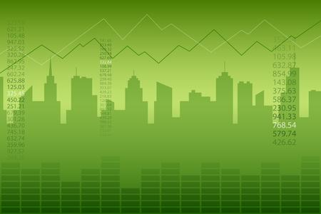 추상적 인 배경 도시 그래프 녹색 벡터 일러스트